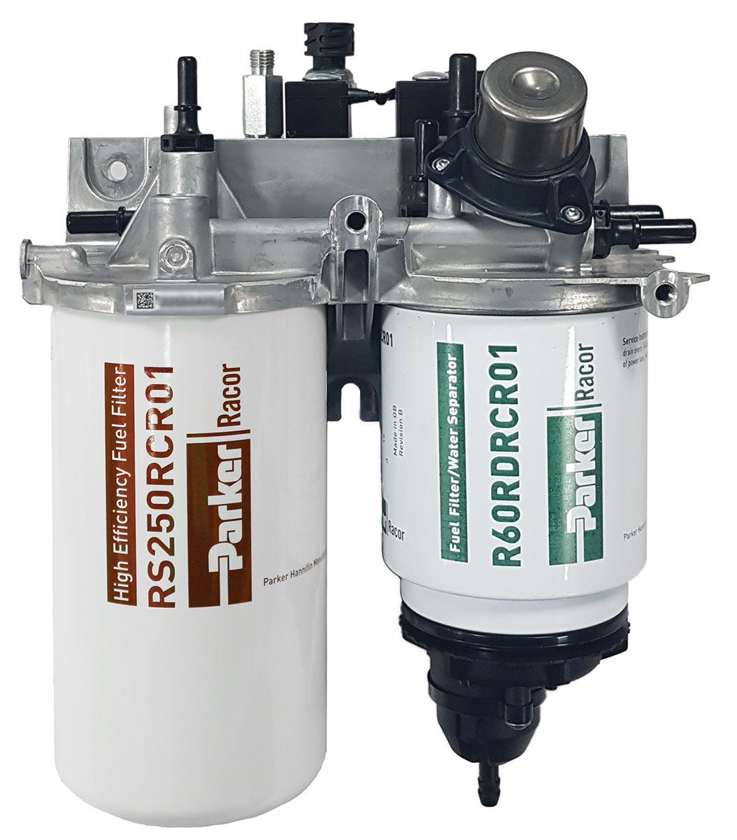 PARKER RACOR FUEL FILTER / WATER SEPARATOR EMBLY WITH MANUAL PUMP AND on